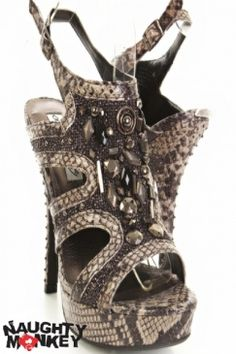 Black Snake Skin Print Faux Leather Beaded Open Toe Heels