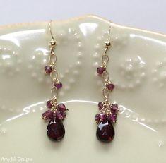 Garnet Earrings, Rhodolite Garnet Cluster, Wire Wrapped on 14k Gold Filled Chain, Red Pink Gemstone Earrings
