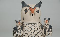 #adobegallery - Cochiti Pueblo Tall Owl with 2 Baby Owls by Seferina Ortiz (1931-2007) Item # C3688.78