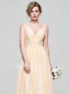 Vestidos princesa/ Formato A Decote V Longos tecido de seda Vestido de madrinha com Pregueado (007074165)