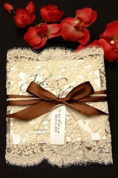 pretty diy wedding invites. love the lace and ribbon