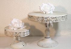 Set 2 Cake Stands Rustic Chic Antique White & Cream Metal. Vintage Look. Party Wedding Platter. Cupcake Display. Cake Plate Cake Table Decor on Etsy, $90.00