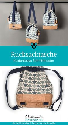 Backpack bag pocket rucksack bag backpack in a sewing pattern free of charge free instructions idea sewing idea gift gift idea Freebie Freebook sew einfach clothes crafts for beginners ideas projects room Bag Patterns To Sew, Sewing Patterns Free, Free Sewing, Sewing Tutorials, Sewing Projects, Diy Backpack, Rucksack Bag, Tote Bag, Fabric Bow Tutorial