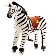 """Das Animal-Riding Zebra """"Marthi"""" ist ein gesundes Bewegungsgerät, welches viel Spiel und Spaß für Kinder bietet. Es zeichnet sich durch einen weichen Plüschkörper und ein innovatives Antriebssystem mit Lenkung, Haltegriffen, Fuß-Stützen und Kunststoff-Rädern aus. Die Tiere sind in 3 Größen (klein, mittel, groß) erhältlich."""