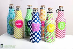 Who wouldn't love a koozie to keep there drinks cold in the summer?  http://latticeandivy.com/?sponsor=MonogramMavens