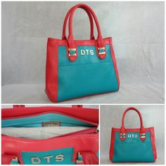 Our Medium Trendline Tote customized in Turquoise body, Pink sides & handle with Silver metalwork & Turquoise inside lining and an external body Monogram. smile emoticon See more at: http://www.toteteca.com #colorful #customercreation #fun #bright #bag #love #monogrammed #tote