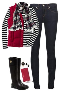 """""""Red, Black & White"""" by steffiestaffie ❤ liked on Polyvore featuring rag & bone/JEAN, Tory Burch, J.Crew, Lands' End, MICHAEL Michael Kors, Kendra Scott and Marc by Marc Jacobs"""