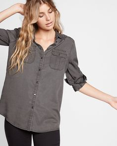 """Made of substantial, extra-soft twill with slick military details, this fashion perennial is a wardrobe must. Layer it over your fave graphic tee and jeans for an effortlessly sexy, relaxed look. Designed to fit and flatter your 5'4"""" and under frame."""