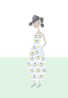 Jeune fille à robe fleurie