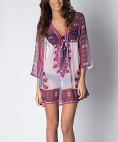 Look at this Paradise USA Fashion Fuchsia Tie-Front Cover-Up on #zulily today!