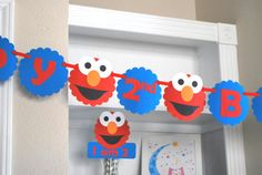 Elmo Birthday Banner Happy birthday blue and red by Mariapalito