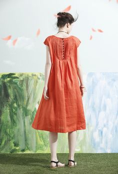 Linen Dress in Orange Tunic Dress Midi Dress Beach by camelliatune