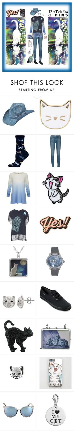 """One Crazy Cat Lady Patches & Pins"" by pinky-dee ❤ liked on Polyvore featuring Peter Grimm, Des Petits Hauts, HOT SOX, Frame Denim, Joie, aprico, Anya Hindmarch, Girard-Perregaux, SOPHIE MILLER and Keds"