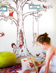 Family Tree Wall Decal. Oversize. Removable and reusable. Designed by Sarah Jane for Pop  Lolli.