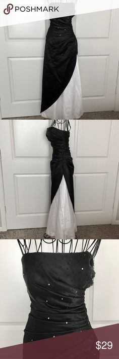Satin Beaded Rhinestone Strapless Gown Dress 3/4 Brushed satin fabric, in black 100% Polyester Embellished w/ tiny black beads & rhinestones Ruched on side Full white satin underskirt, w/ mesh overlay Built-in padded bra cups Boning Side zipper  Fully lined Pre-owned. There are a few tiny loose or missing beads. Also, some grey markings along hemline. Size 3/4 Measurements (lying flat): Length from neckline to hem: 53 inches  Bust: 12 inches  Waist: 10 1/2 inches  Hip: 13 1/2 inches Jump…