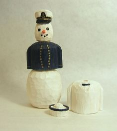 Snowman Wood Carving Naval Academy or NROTC by ClaudesWoodcarving