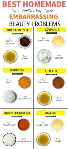 Beauty hacks beauty tips Best Homemade Face masks Clear Acne popular pin DIY tips beauty infographic glowing skin Beauty Care, Beauty Skin, Health And Beauty, Face Beauty, Healthy Beauty, Beauty Makeup, Makeup Tips, Diy Beauty Mask, Beauty Tips For Face