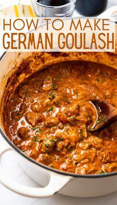 Beef Steak Recipes, Goulash Recipes, Meat Recipes, Cooking Recipes, Healthy Recipes, Dutch Oven Recipes, German Recipes, Hungarian Recipes, German Goulash