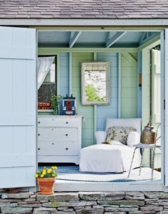 Pure Style Home: Fun Sheds.  Like Interior color combo