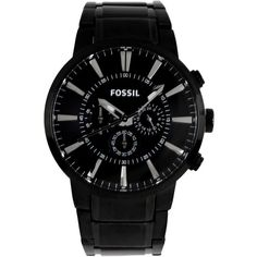 Fossil Wrist Watch ($246) ❤ liked on Polyvore featuring men's fashion, men's jewelry, men's watches, black, mens stainless steel watches and fossil mens watches