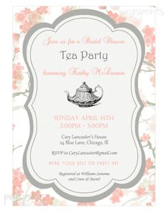 Tea party invitation high tea bridal shower by westminsterpaperco floral bridal shower tea party invitation printable bridal tea party invitation tea party bridal shower invitation floral invitation filmwisefo Choice Image