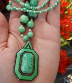 Fabulous Vintage Art Deco Czech Peking Glass Enamel Pendant Necklace
