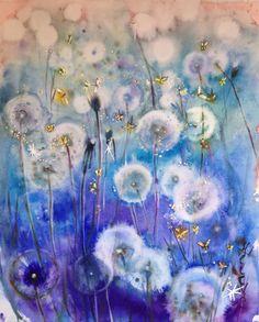 Watercolor painting / Купить Акварель Светлячки - акварель, акварель по-сырому, картина, одуванчики, ночь, светлячки, синий, Сумерки