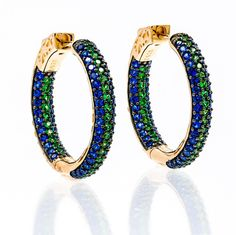 ZDE1860-NG-RG  STERLING SILVER 925 TWO COLOR CZ HOOPS