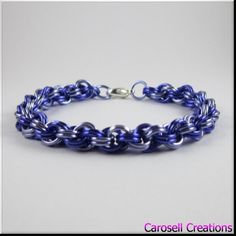 Chainmaille Bracelet Purple Double Spiral Chain Mail by carosell TAGS - Jewelry, Bracelets,   Chain bracelet, Link Bracelet, carosell creations, chain bracelet, chainmaille bracelet, chainmail bracelet, chain mail bracelet, chainmaille jewelry, spiral bracelet,  chain jewelry, link bracelet, unisex bracelet, purple bracelet, womens bracelet, purple jewelry, etsy, handmade, women, ladies, accessories