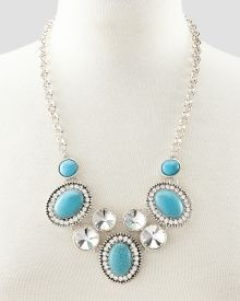 Rhinestone and Turquoise-Look Frontal Necklace, Get awesome discounts up to Off at Stein Mart using Mother's Day Promo Codes. Mother's Day Special Gifts, Fashion Necklace, Turquoise Necklace, Awesome, Jewelry, Women, Jewels, Schmuck, Be Awesome