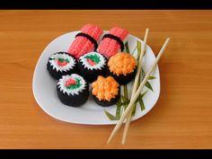 Суши и Роллы амигуруми | Вяжем крючком | Sushi and rolls Crochet Tutorial - Amigurumi Food - YouTube Tutorial Amigurumi, Sushi, The Creator, Food, Youtube, Meals, Youtubers, Youtube Movies