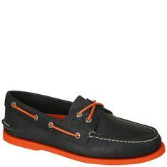 Sperry Mens AO-2-Neon Shoe - Navy/Neon Orange