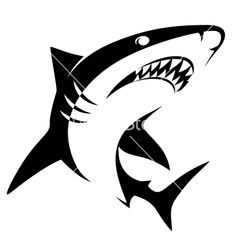 Shark sign vector image on VectorStock Hai Tattoos, Tattoos For Guys, Tribal Hai, Shark Silhouette, Shark Logo, Stencil Font, Save The Whales, Flame Art, Bleach Art