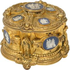 Antique French Box, Golden Bronze with Biscuit Plaques or Cameos