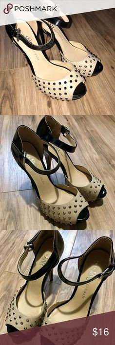 Rock & Republic Studded heels. Studded heels. 5 inch. Tan and patent black color, silver studs. Size 9! Actually very comfortable. Only worn a few times. Rock & Republic Shoes Heels