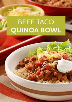 You're going to love this Beef Taco Quinoa Bowl recipe. This easy Mexican-inspired dish is ready for dinner in just 25 minutes!