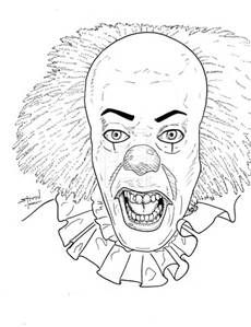 Scary Clown Coloring Page Colowing Pinterest Scary clowns
