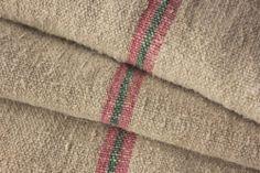 GRAINSACK feedsack GRAIN sack old linen PINK + GREEN washed old grainbag www.textiletrunk.com