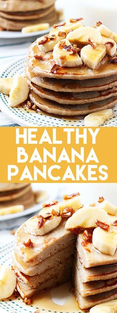 These Healthy Banana Pancakes are a delicious, low calorie breakfast! #banana #lowcalorie #healthy #breakfast #pancakes