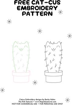 Cactus Cats Embroidery Pattern • via The Pink Samurai