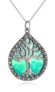 Sterling Silver, Marcasite, and Blue Epoxy Tree of Life Pendant Necklace, 18 Tree Of Life Jewelry, Tree Of Life Pendant, Pendant Jewelry, Jewelry Necklaces, Pendant Necklace, Metal Jewelry, Jewelry Box, Unique Jewelry, Marcasite