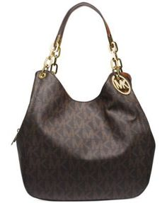 MICHAEL Michael Kors Fulton Large Shoulder Tote in brown logo/gold