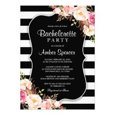 Floral Black And White Stripe Bachelorette Party Card