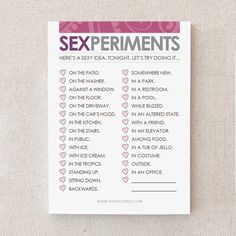 "Naughty First Anniversary Gift. Paper. Sticky Notepad. Funny. For Man, Woman, Him, Her, Husband, Wife. Naughty. ""Sexperiments"" (NSN-L003)"