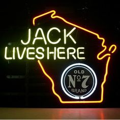Jack Daniels Lives Here Whiskey Wisconsin Neon Beer Sign///How I love you neon signs , Real nice for my Home Bar Deco