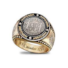 Mens Diamond Ring With El Cazador Shipwreck Coin Silver ~ The Bradford Exchange