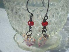 Summer Lovin Heart Artisan Earrings with ceramic hearts by Marla James