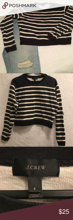 J. Crew crop top sweater Black and cream striped top. Excellent used condition. I wish this fit me or I would keep it! J. Crew Tops Sweatshirts & Hoodies