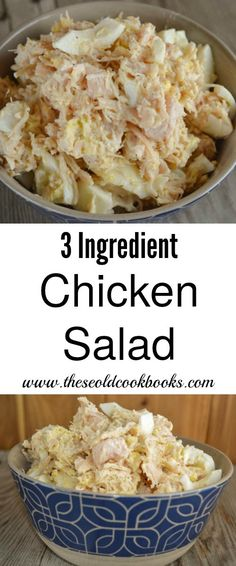 This 3 Ingredient Chicken Salad is a great option for an easy workday lunch to fix as a sandwich or put on crackers. This 3 Ingredient Chicken Salad is a great option for an easy workday lunch to fix as a sandwich or put on crackers. Easy Salad Recipes, Chicken Salad Recipes, Simple Chicken Salad, Chicken Egg Salad, Basic Chicken Salad Recipe Easy, Recipes For Canned Chicken, Chicken Salad Ingredients, Rotisserie Chicken Salad, Dinner Recipes