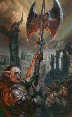 madcat-world: Osgiliath - Volkan Baga.Osgiliath TAKEN! Middle Earth Art, High Fantasy, Lotr Art, Fantasy Art, Painting, Dark Lord, Art, Lord Of The Rings, Elves